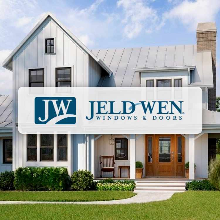 Jeld-wen logo with house in background
