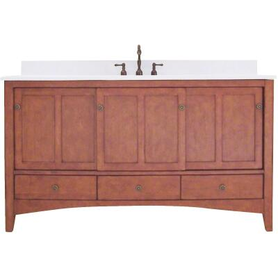 Sunny Wood Expressions Warm Cinnamon 60 In. W x 34 In. H x 21-1/2 In. D Vanity Base, 3 Door/3 Drawer