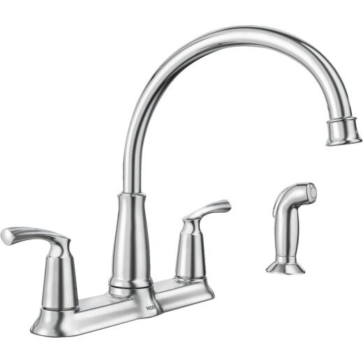 Moen Bexley Dual Handle Lever Kitchen Faucet with Side Spray, Chrome