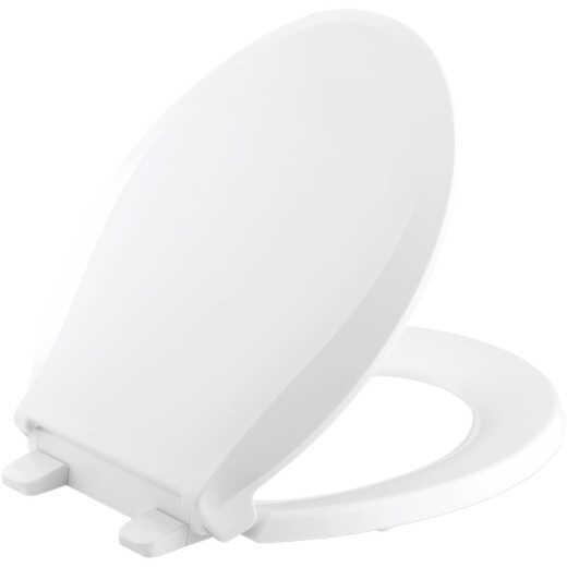 Kohler Cachet Quiet-Close Round Closed Front White Plastic Toilet Seat w/Grip-Tight Bumpers