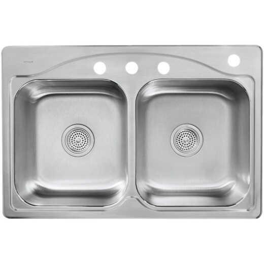 Kohler Cadence Double Bowl 33 In. x 22 In. x 8 5/16 In. Deep Stainless Steel Topmount Kitchen Sink